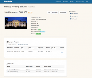 Rentfolio Letting and Property Management Screen